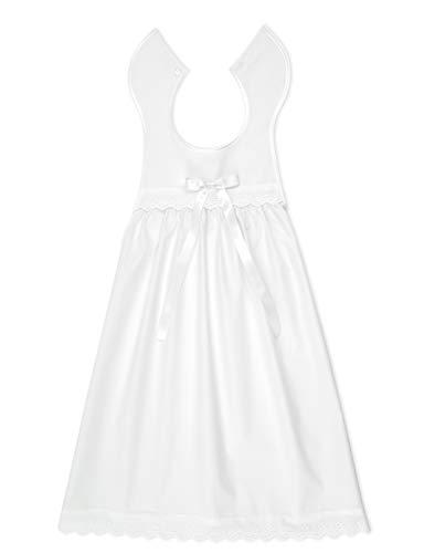 Bateo Design Baby Taufaufleger aus weißer Baumwolle mit Spitze + Schleife in weiß, Unisex, Festliche Taufbekleidung für Mädchen und...