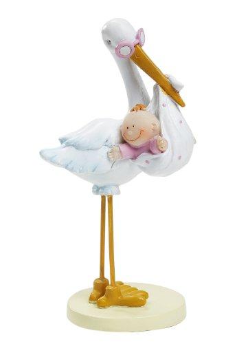 Storch mit Baby Girl ca. 11 cm Tortendeko Tischdeko