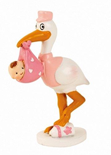 Babyfigur Windeltorte Tortenaufsatz Tortenfigur Geburt Taufe Baby   Storch mit Baby (16,5 cm / Rosa)
