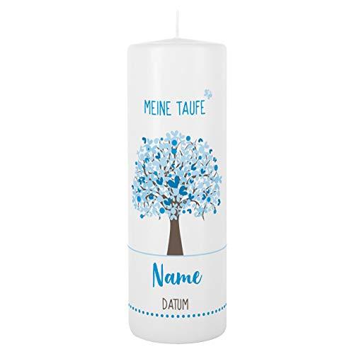 Striefchen® Taufkerze 250/80 mm mit Lebensbaum und Aufdruck des Namen und Datum sowie Taufspruch Weiß - Blau