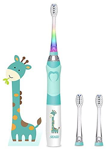 Elektrische Zahnbürste Kinder Seago Batterie Kinderzahnbürste Elektrisch mit Timer Farbigem Blinkt Licht Ultraschall Weiche Borsten...