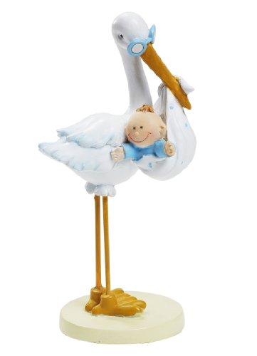Storch mit Baby Junge blau weiß, 11 cm, Tortendeko Tischdeko Tortenfigur Geburt Taufe
