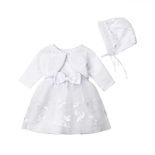 3-teiliges Taufkleid-Set für Babys, Mädchen, formelles Kleid, für Hochzeiten, Spitze, ärmellos, Jäckchen, Mütze, mit Schleife, für...