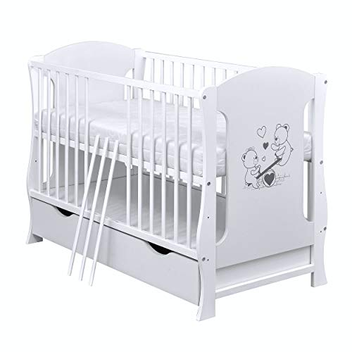 Baby Delux Babybett Kinderbett Juniorbett Teddy Wippe Motiv umbaubar 120×60 Weiß Schublade Matratze