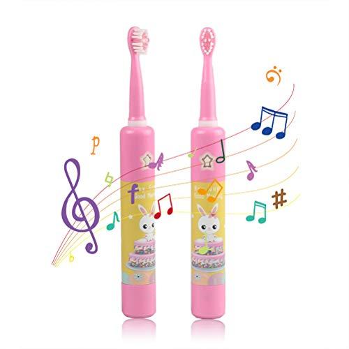 BSMEAN Baby Sonic Zahnbürste für Kinder, Wiederaufladbare Musik-Schallzahnbürste mit 2 Bürstenköpfen, Gelb