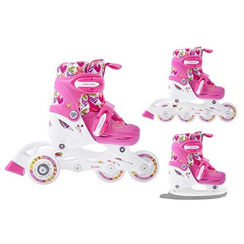 SMJ Hearts Kinder Mädchen Set 3in1 Inliner/Rollschuhe/Schlittschuhe VERSTELLBAR | ABEC5 Inline Skates | Umbaubar zu Eislaufschuhe (XS...