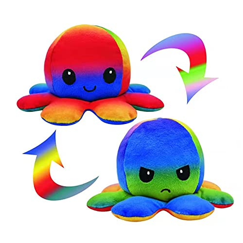 Oktupus Stimmungs Kuscheltier, Octopus Plüschtier, Reversible Octopus Tintenfisch für Frauen für Kinder und die Ihre Laune ausdrücken...