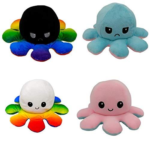 LOOLOLA 2 X oktopus Kuscheltier zum wenden flip plüsch, Oktopus Stofftier, Octopus Mood doppelseitig, süßes Flip Toy, Kindergeschenk,...