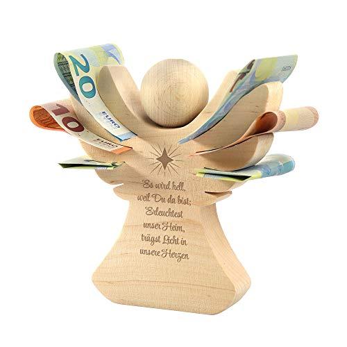 Casa Vivente Holzengel aus Erlenholz mit Gravur zur Taufe, Mit Taufspruch, Verpackung für Geldgeschenke, Taufgeschenk für Kinder