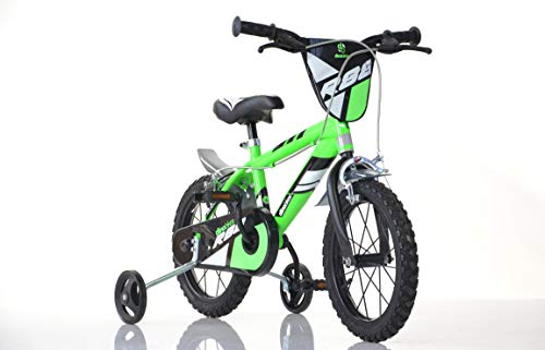 Jungen Kinderfahrrad grün 414U Jungenfahrrad – 14 Zoll   TÜV geprüft   Original   Kinderrad mit Stützrädern - Das Fahrrad als...