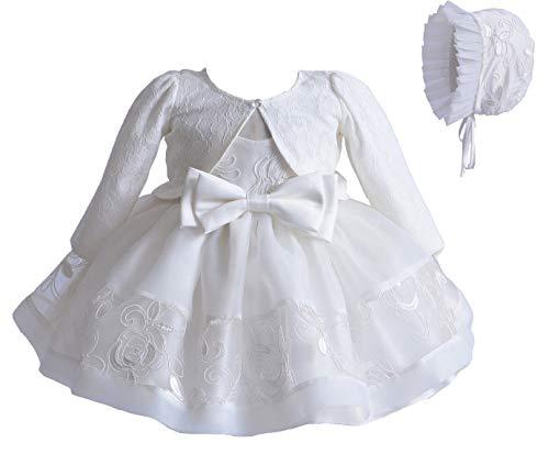 Taufkleid für Babys, Mädchen, formelles Brautkleid für Hochzeiten, Spitze, ärmellos, 3-teiliges Set, Schal, Hut, Rock mit Schleife für...