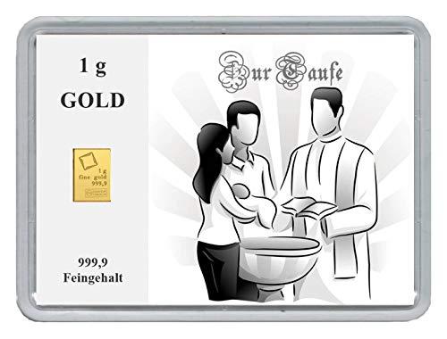 New Edition 1g Goldbarren 999,9 Feingehalt in einer Kapsel mit Motivbox'Zur Taufe' in edler Goldverpackung (Zur Taufe)
