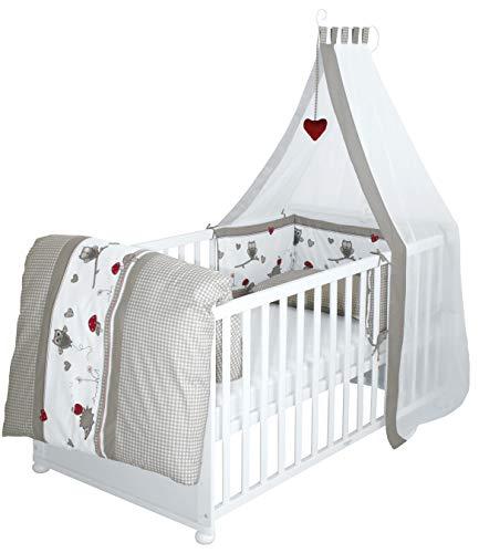 roba Komplettbett Set 'Adam & Eule', Babybett weiß inkl, Bettwäsche, Himmel, Nest, Matratze, Kombi Kinderbett 70x140cm umbaubar zum Junior...