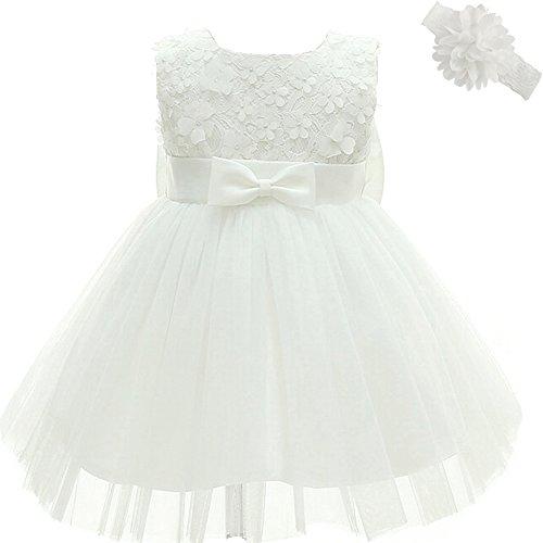 AHAHA Baby Mädchen Prinzessin Kleid Blumenmädchenkleid Taufkleid Festlich Kleid Hochzeit Partykleid Festzug Babybekleidung 6M