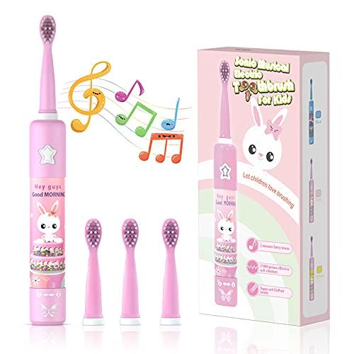 Musikalische Elektrische Zahnbürste für Kinder, Wiederaufladbare Intelligent Karikatur Zahnbürste für Kinder Alter 3-12 mit 2 Minuten...