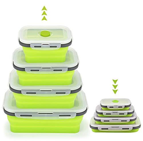Silikon zusammenklappbaren Container, szrwd 4 Stück wiederverwendbar zusammenklappbar Frischhaltedosen Gefrierschrank zu ofenfest (grün)