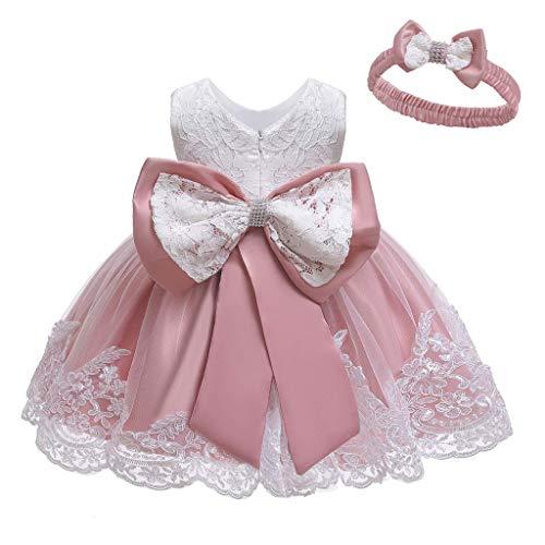 Unbekannt Allence Baby Mädchen Bowknot Spitze Prinzessin Kleid 2tlg Set Bowknot Spitze Taufkleid Festlich Kleid Hochzeit Party Festzug...
