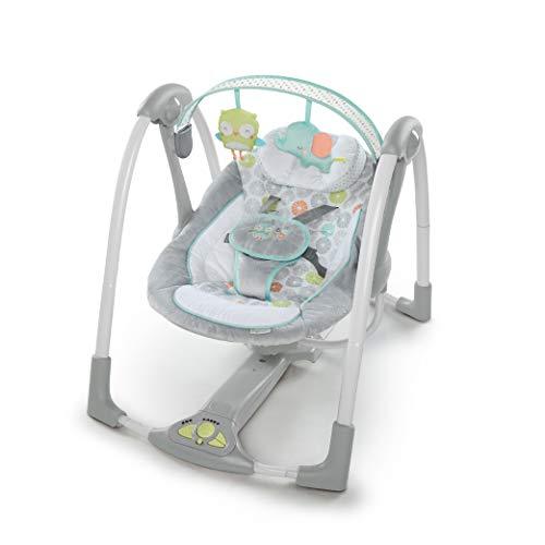 Ingenuity, Hugs & Hoots zusammenklappbare und tragbare Babyschaukel mit 5 Schaukelgeschwindigkeiten, 8 Melodien, Lautstärkeregulierung und...