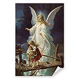 Postereck - 0154 - Schutzengel, Kinder Altes Gemälde Engel Religion - Kunst Wandposter Fotoposter Bilder Wandbild Wandbilder - Poster - DIN...