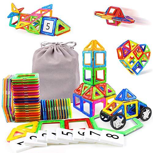 48Stk Kinderspielzeug Kleinkind Konstruktionsspielzeug 3D mit Rädern und Figur Geschenkideen Kinder Mit MEHRWEG Aufbewahrungstasche, Jungen...