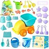 Sandspielzeug, 28 Stück Sandkasten Spielzeug Set mit Sand Förmchen, Soft Plastic Truck, Gießkanne, Eimer, Wasserrad, Schaufel...