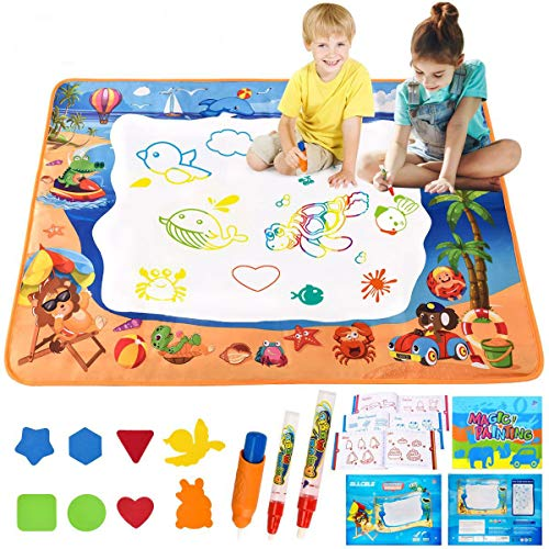 ALLCELE Wasser Doodle Matte Aqua Magic Doodle Malmatte 100*70cm XL Aqua Drawing Painting Matte für Kinder Baby Mädchen Junge für Toddler...