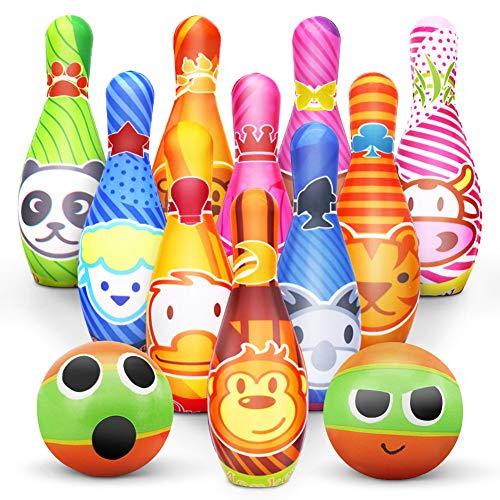 Kegelspiel für Kinder Bowling Ball Set mit 10 Kegel und 2 Bälle in netzbeutel Drinnen Draußen Spielzeug Geschenke Spiele ab 3 Jahren...