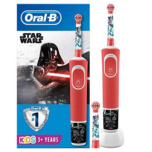 Oral-B Kids StarWars Elektrische Zahnbürste mit Disney-Stickern, 2 Aufsteckbürsten, für Kinder ab 3 Jahren, rot