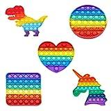 ZUIHOU 5 pcs Pop it Fidget Toy Set, fidgets Toys, Push Up Zappeln Spielzeug, Pop Zappeln Spielzeug Autismus Kauen Sensorisch Push Bubble...