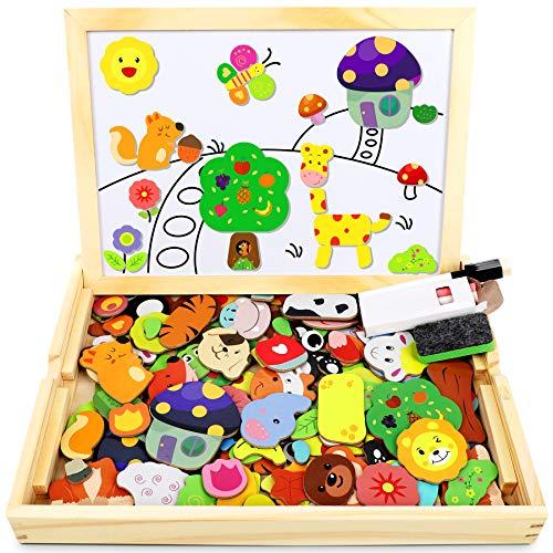 Jojoin Magnetisches Holzpuzzle mit Doppelseitiger Tafel, Holzspielzeug Puzzles Kinder, 110 Stück Tiermuster Pädagogisches Magnetische...